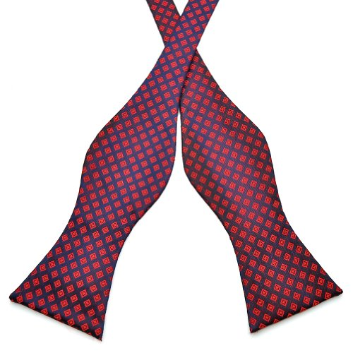 Pensee Mens Self Bow Tie Red & Navy Plaids Jacquard Woven Silk Bow Ties