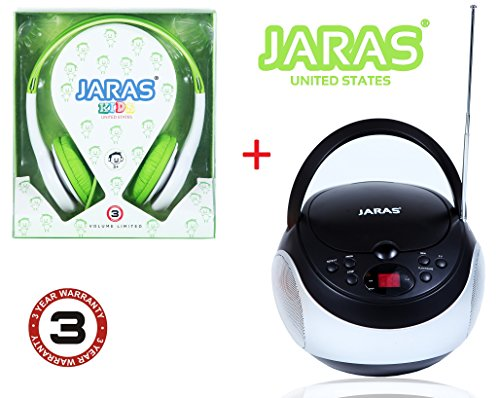 Jaras® 2-Pack Bundle Kids Package + Sport Portable Stereo CD Player with AM/FM Stereo Radio and Headphone Jack + Jaras Green Kids Headphones Included in the Bundle package