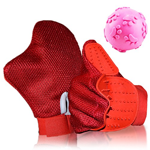 Cochop Red - Furniture Hair And Fur Remover Mitt + Pet Toy Ball - Pet Grooming Glove Brush - For Daily Use - Massage, Shedding, Petting - For Cat Bath, Dog Wash - Pet Groomer For Long And Short Hair
