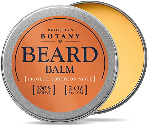 Brooklyn Botany Beard & Mustache Balm / Oil / Wax / Leave In Conditioner 1.7 oz - 100% Natural, Soothes Itching - Thickens, Strengthens, Softens, Tames & Styles Facial Hair