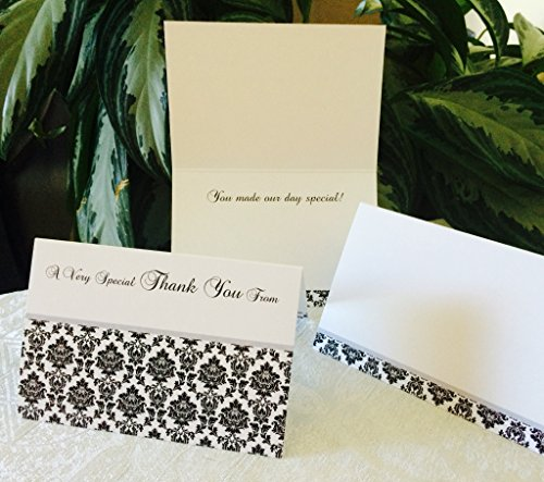 50 DAMASK THEMED THANK YOU CARDS 4x6 size, quality cardstock, black/white/silver colors, Hand-write your names/message. Works for wedding, anniversary, baby shower or any party/event