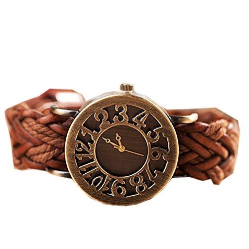 Unisex Retro Vintage Fashion Hollow Digital Woven Weave Wrap Around Leather Strap Bracelet Wristband Wrist Watch Orange