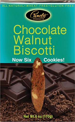 Pamela's Products Gluten Free Biscotti, Chocolate Walnut, 6-Ounce Boxes (Pack of 8)