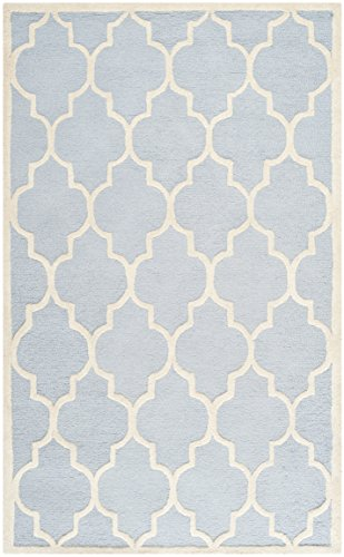 Safavieh Cambridge Collection CAM134A Handmade Light Blue and Ivory Wool Area Rug, 5 feet by 8 feet (5' x 8')