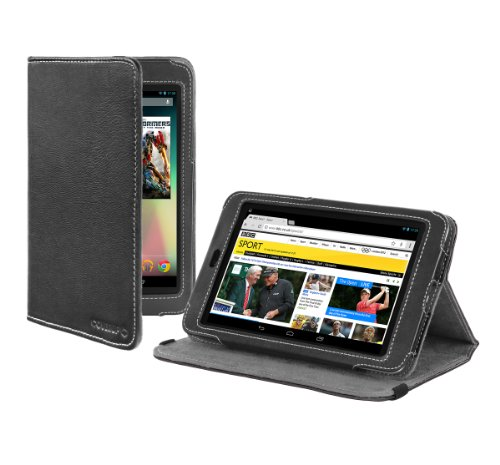 Cover-Up Google Nexus 7 Tablet Version Stand Nappa Leather Case - Black