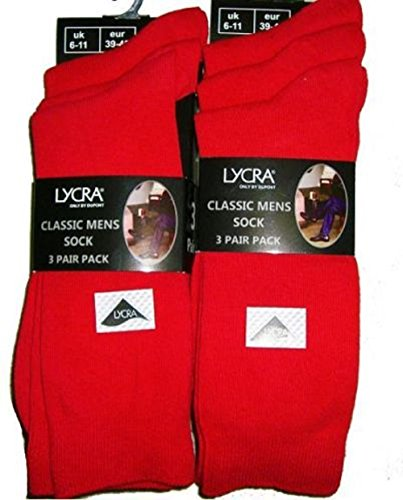 6 PACK OF MENS RED LYCRA COTTON ANKLE SOCKS SIZE 6-11 NEW IN PACKAGE