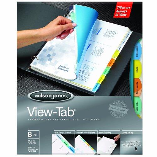 Wilson Jones View-Tab Transparent Dividers, 8-Tab Set, Square Multicolor, 5 Pack (5 sets of 8-Tab Dividers) (W55567)