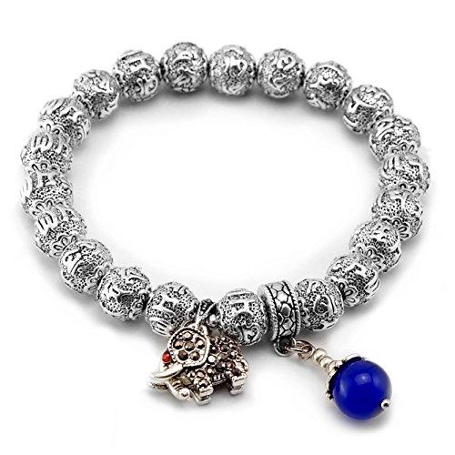 Cat Eye Jewels Tibetan Silver Beads Om Mani Padme Hum Mantra Bracelet September Birthstone & Elephant Charms(H26)