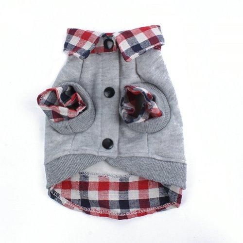 PanDaDa Dog Cat Grid Sweater Puppy Warm T-Shirt Pet Clothes POLO Shirt Dog Coat Grey XS