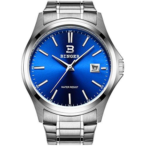 BINGER Men's Date Stainless Steel Quartz Wrist Watch Blue Dial with Silver Hands