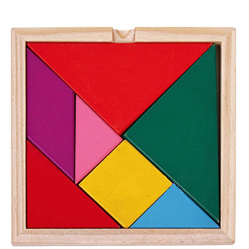 niceeshop(TM) Children Educational Toy Colorful Wooden Brain Training Geometry Tangram Puzzle with Manual
