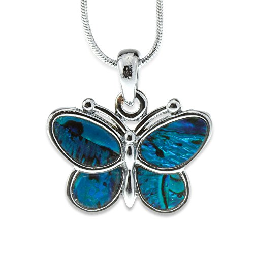 Silver and Blue Green Abalone Paua Shell Butterfly Pendant Mood Necklace Perfect Jewelry Gift for Girls