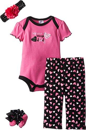 Baby Essentials Baby-Girls Newborn Heart Belongs To Daddy 4 Pack Gift Set, Pink, 3-6 Months