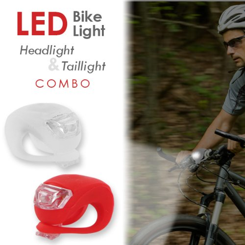 Camelion Silicone LED Bike Light Headlight and Taillight Set (Red and White)