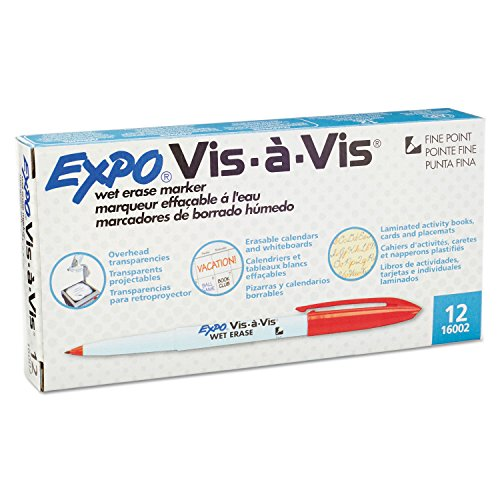 Expo Vis-A-Vis Wet-Erase Overhead Transparency Marker, Fine Point, Red Ink Dozen