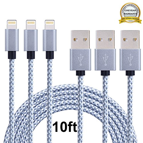 Airsspu Lightning Cable,3Pack 10FT Extra Long Nylon Braided USB Cord Charging Cable for iPhone 5/5S/5C/SE 6/6S 6 Plus/6S Plus 7/7 Plus, iPad mini/Air/Pro iPod touch/nano 7(Gray+White,10FT)