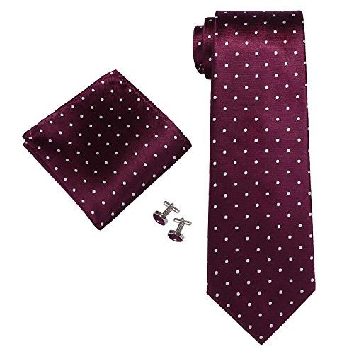 Landisun SILK Various Polka Dots Mens SILK Tie Set: Tie+Hanky+Cufflinks