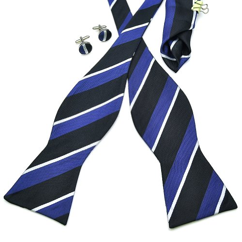 PenSee Men's Self Bow Tie Set Stripe Silk Bow Ties
