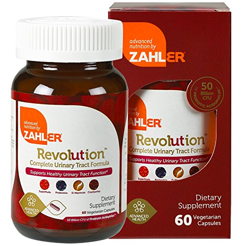 Zahlers UTI Revolution, Urinary Tract and Bladder Health, All Natural Cranberry Concentrate Pills Fortified with D-Mannose and Probiotics, Certified Kosher, 60 Caps