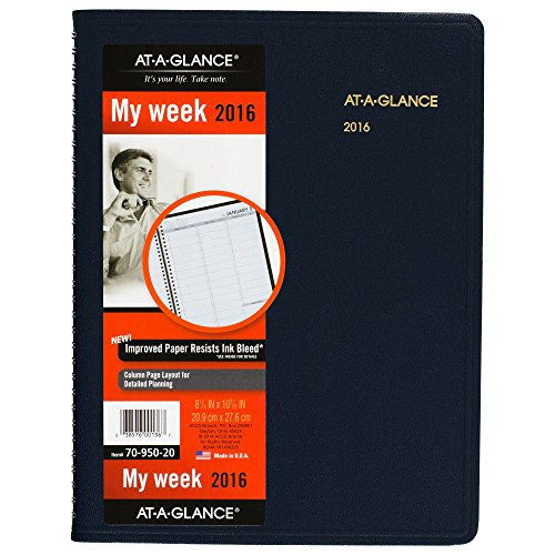 AT-A-GLANCE Weekly Appointment Book / Planner 2016, 8.25 x 10.88 Inches, Navy (70-950-20)