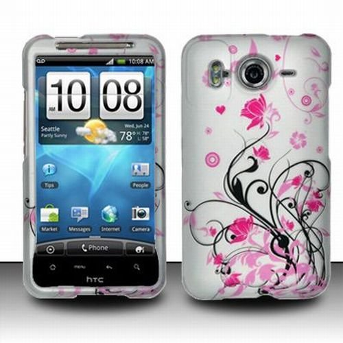 HTC Inspire 4G Accessory - Blossoming Pink Flower Protective Hard Rubberized Case Cover Design for AT&T
