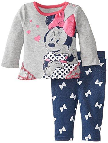Disney Baby Baby-Girls 2 Piece Jegging Set, Light Grey Heather, 0/3 Months