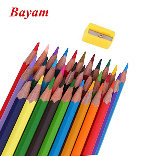 Color Pencil / Bayam Coloring Pencils Oil Base Non-toxic Colored Pencil with a Sharpener for Kids and Adults Coloring Book (36 colors)