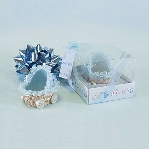 Lunaura Baby Keepsake - Set of 12 Boy Baby Stroller With Thank You Card Favors - Blue