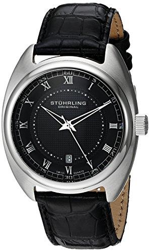 Stuhrling Original Men's 728.02 Aristocrat Twenty Stainless Steel Watch with Black Leather Band
