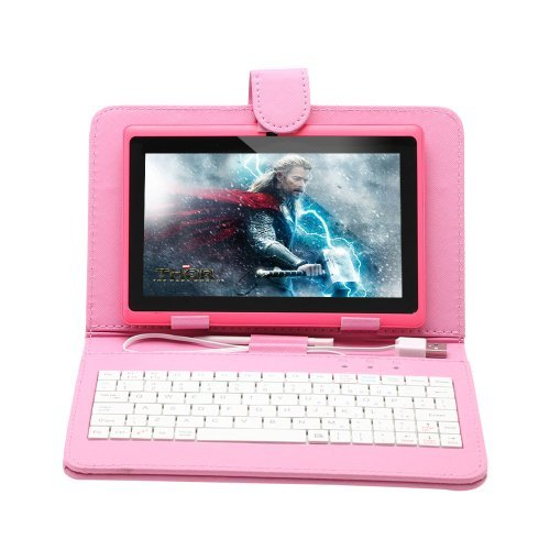 IRULU 7 inch Android Tablet PC With Keyboard Case,4.2 Jelly Bean OS, Dual Core, Allwinner A23 CPU, Dual Cameras, 5 Point Capacitive Touch Screen, 8GB Storage,Pink Tablet & Pink Keyboard Case