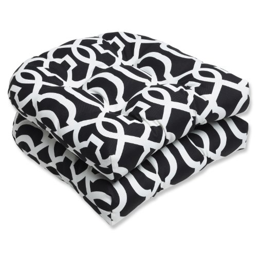 Pillow Perfect Outdoor New Geo Wicker Seat Cushion, Black/White, Set of 2