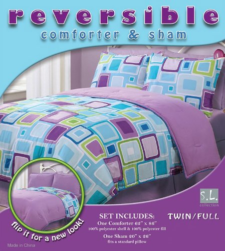 2 Pieces Reversible Purple, Blue, and Light Grey Geo Square Comforter and Sham Set Twin or Full Size Bedding