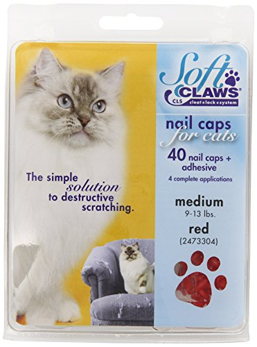 Soft Claws Feline Cat Nail Caps Take-Home Kit, Medium, Red