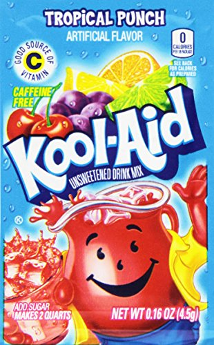 Kool-Aid Tropical Punch Unsweetened Soft Drink Mix, 0.16 Ounce (Pack of 192)