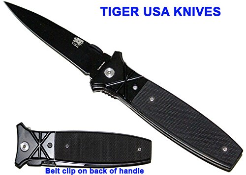 8.5 Black Criss Cross Assisted Opening Pocket Knife