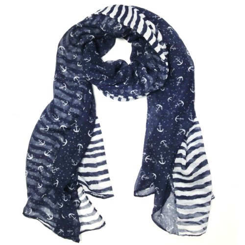 Wrapables® Stripes and Anchor Nautical Marine Scarf 72 X 42