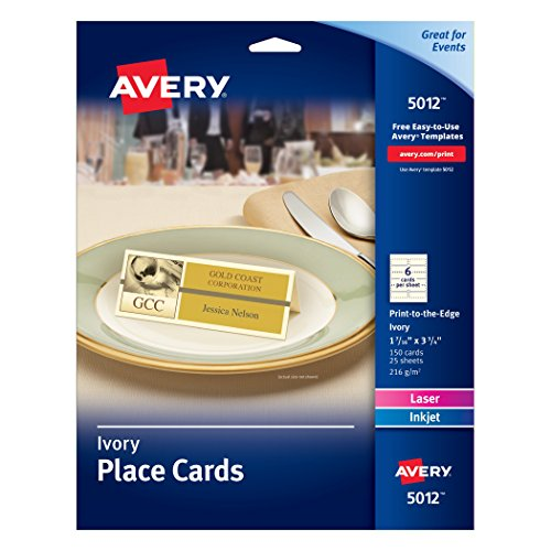 Avery Place Cards, 1-7/16 x 3-3/4, Ivory, Pack of 150 (5012)