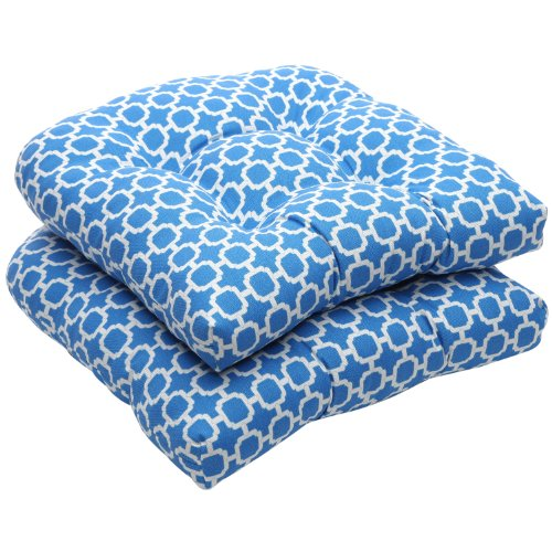 Pillow Perfect Indoor/Outdoor Blue/White Geometric Wicker Seat Cushions, 2-Pack