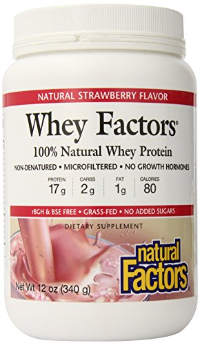 Natural Factors Whey Factors, Strawberry, 12-Ounce