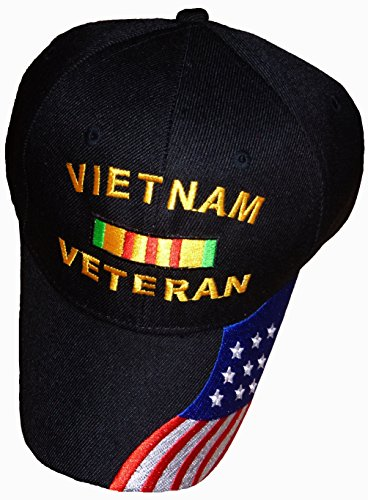 Buy Caps and Hats Vietnam Veteran Baseball Cap American Flag Bill Mens Black