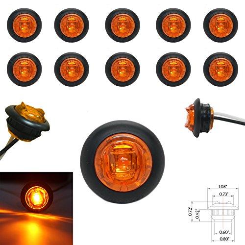 10 3/4 Amber LED Clearance Marker Bullet Grommet Lights