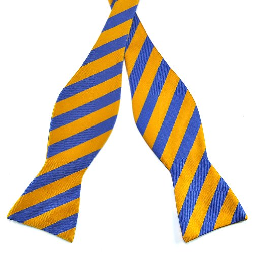 PenSee Mens Jacquard Woven Silk Self Bow Tie Gold & Blue Stripes Bow Ties