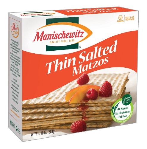 MANISCHEWITZ Thin Salted Matzo, 10-Ounce Boxes (Pack of 8)