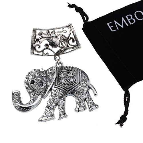 Silver with Vintage Vintage Charm Studded Crystals Elephant Jewelry Necklace Findings Pendant Scarf