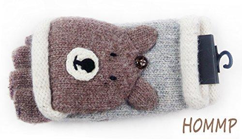 HOMMP Girls' Wool Fingerless Gloves Knit Gloves and Mittens (bear)