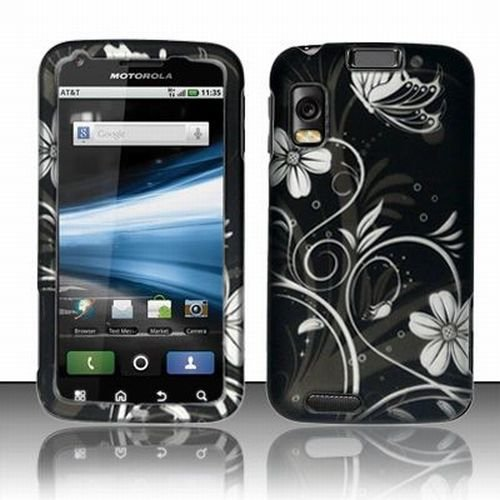 Blossoming White Spring Flower Protective Hard Rubberized Case Cover Design for AT&T Motorola Atrix 4G
