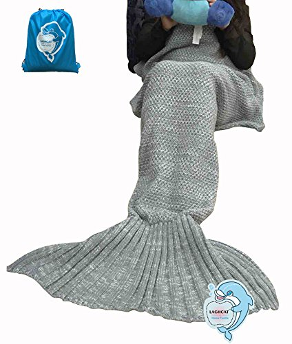 LAGHCAT Mermaid Tail Blanket Fleece and Mermaid Blanket for Child, All Seasons Sleeping Blankets (56X28, Gray)