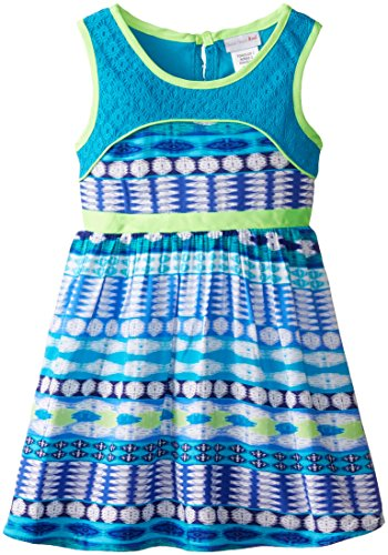 Sweet Heart Rose Little Girls' Printed Aztec Koshibo Dress with Crochet Details
