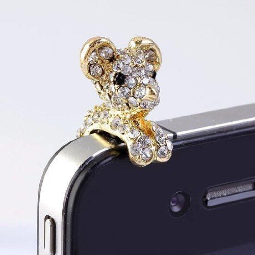 niceEshop New Crystal Dog Puppy Bear 3.5mm Antidust Anti Dust ear cap for iphone 5, HTC, Samsung