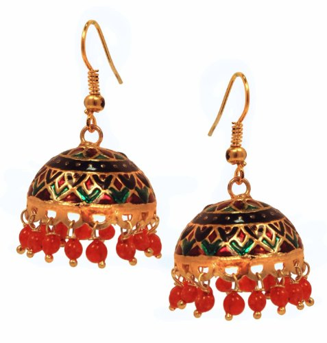 Copper Cloisonné Temple 'Meenakari' Drop Dangle Earrings Birthday or Anniversary Gifts Ideas for Women & Girls